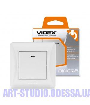 VIDEX BINERA Выключатель белый 1кл с подсветкой (VF-BNSW1L-W) (20/120)