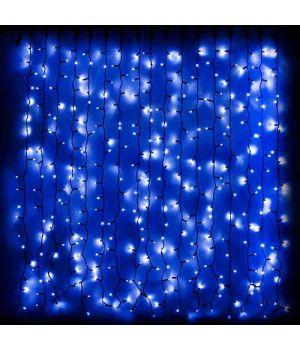 Гирлянда внешняя DLX CURTAIN 456LED 2х1,5м синий/черныйIP44 EN