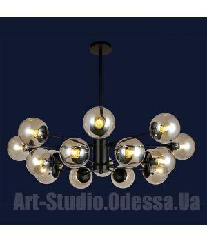 """Люстра в стиле Loft - """"Молекула"""" на 16 ламп 7526033-16 BK (белый,черный, бронза,прозрачный)"""