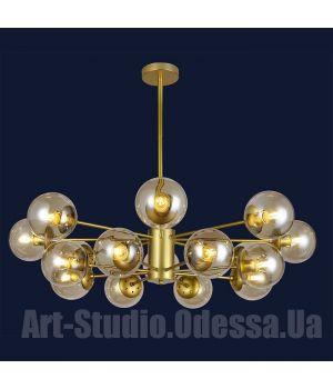 """Люстра в стиле Loft - """"Молекула"""" на 16 ламп 7526033-16 GD (белый,черный,бронза,прозрачный)"""
