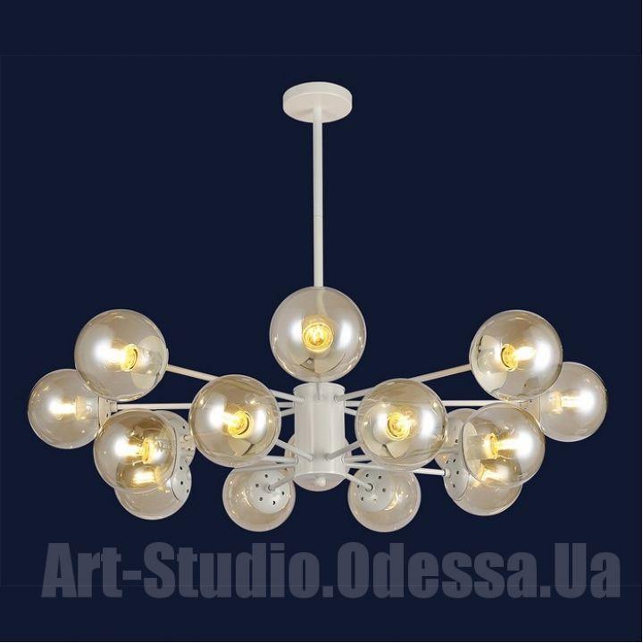 """Люстра в стиле Loft - """"Молекула"""" на 16 ламп 7526033-16 WH (бронза,черный,белый,прозрачный)"""