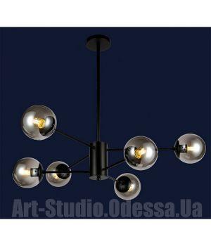 """Люстра в стиле Loft - """"Молекула"""" на 6 ламп 7526033-6 BK (белый,черный,бронза,прозрачный)"""