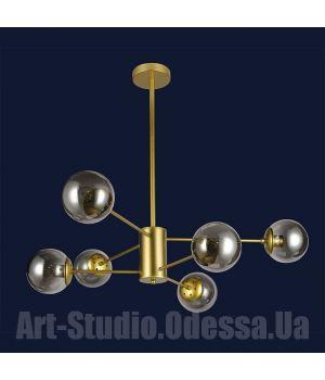 """Люстра в стиле Loft - """"Молекула"""" на 6 ламп 7526033-6 GD (черный,белый,бронза,прозрачный)"""