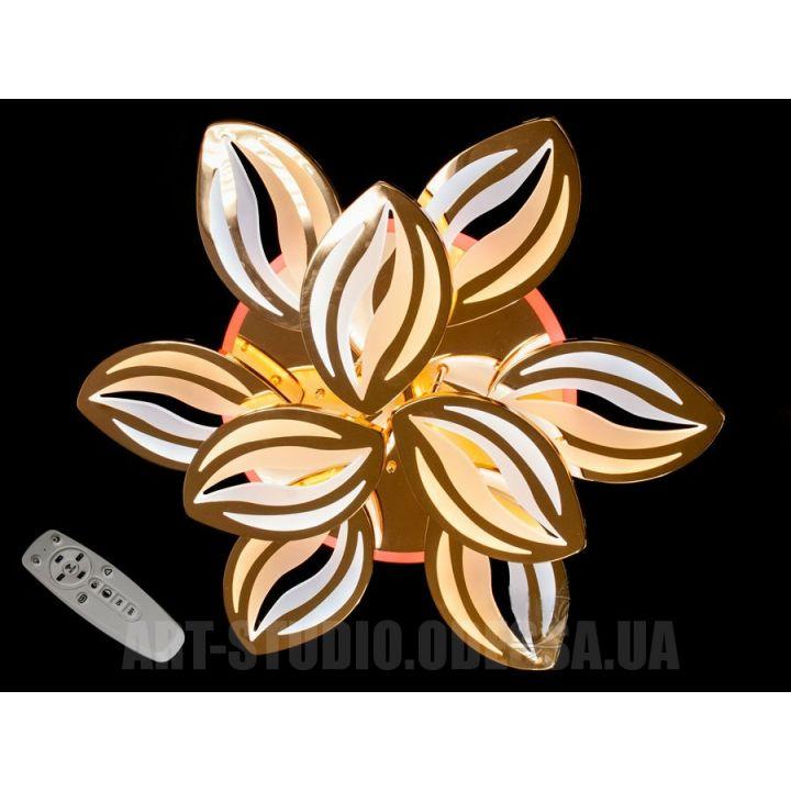 Потолочная люстра с диммером и LED подсветкой, цвет золото, 165W 9280/6+3G LED 3color dimmer (золото,хром)