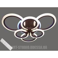 Потолочная LED-люстра с диммером и подсветкой, 105W 2374/3+3CF (белая,черная,коричневая,серая)